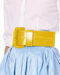 Carolina Herrera - Wide Patent Water Snake Belt - Lyst
