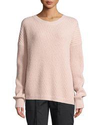 Vince - Side-slit Wool Crewneck Pullover Sweater - Lyst