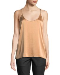 96c31196017d9b Lyst - Eileen Fisher Lace-trim Silk Charmeuse Cami Top