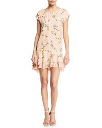 Joie - Coreen Round-neck Floral-print Silk Shift Dress With Flounce Hem - Lyst