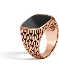 John Hardy - Classic Chain Bronze Signet Ring With Onyx - Lyst
