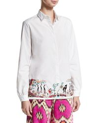 Etro - Embroidered-hem Cotton Blouse - Lyst