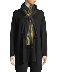 Eileen Fisher - Shimmer Wool Pompom-trim Scarf - Lyst
