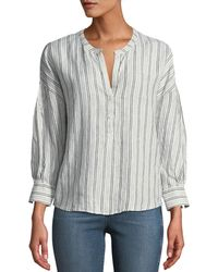 Joie - Bekette Striped Linen Button-front Top - Lyst