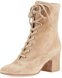 Gianvito Rossi - Suede Lace-up Chunky Bootie - Lyst