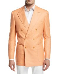 Stefano Ricci - Tonal-stripe Double-breasted Sport Coat Orange - Lyst