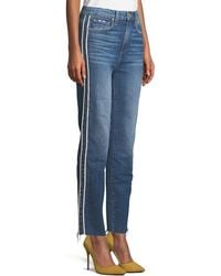 PAIGE - Hoxton Straight-leg Raw-edge Jeans W/ Piping - Lyst