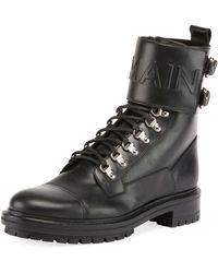 Balmain - Logo-embossed Leather Military Boot - Lyst