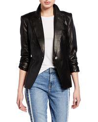Veronica Beard - Havana Single-button Leather Jacket - Lyst