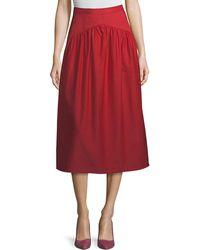 Atlantique Ascoli - Ankle-length A-line Cotton-linen Midi Skirt - Lyst
