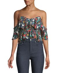 Likely - Lavato Floral-print Off-the-shoulder Ruffle Top - Lyst