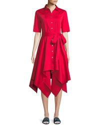 Badgley Mischka - Lucy Shirt Dress W/ Hanky Hem - Lyst