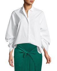 Vince - Button-front Cinched Cotton Poplin Shirt - Lyst