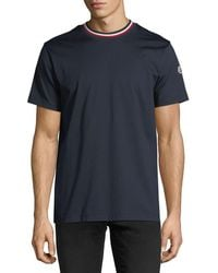 Moncler - Relaxed T-shirt With Tricolor Neck - Lyst