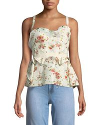 Brock Collection - Rose-print Layered Corset Tank W/ Lace-up Back - Lyst