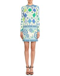 Emilio Pucci - Long-sleeve Round-neck Wallpaper-print Sheath Dress - Lyst
