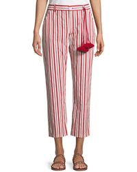Figue - Zuri Straight-leg Striped Cotton Ankle Pants - Lyst