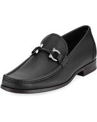 Ferragamo - Grandioso Grained Calf Leather Bit Loafer - Lyst