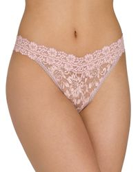 Hanky Panky - Floral Cross-dyed Original-rise Lace Thong One Size - Lyst
