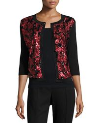 Michael Simon - Sequined Floral Button-front Cardigan - Lyst