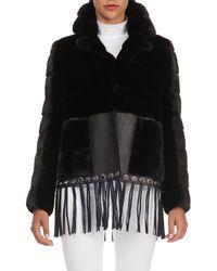 Gianfranco Ferré - Fringed-leather Hem Quilted Mink Fur Jacket - Lyst