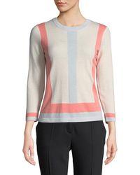 ESCADA - Colorblocked Crewneck Wool-cashmere Pullover - Lyst