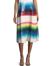 Valentino - Striped Paillette Wool Midi Skirt - Lyst