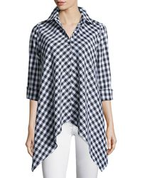 Go> By Go Silk - Drama Gingham Handkerchief Shirt - Lyst
