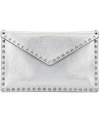 Valentino - Rockstud Metallic Leather Envelope Clutch Bag - Lyst