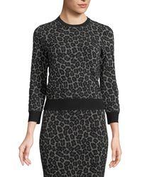 Michael Kors - Crewneck Leopard-print Stretch-viscose Pullover Top - Lyst