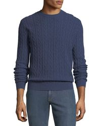 Neiman Marcus - Men's Cashmere Cable-knit Crewneck Pullover Sweater - Lyst