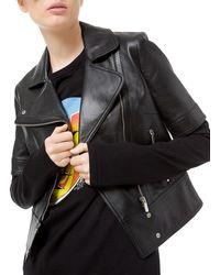 Michael Kors - Plongé Leather Short-sleeve Moto Jacket - Lyst