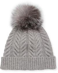 62bf551a0 Lyst - Sofia Cashmere Marbled-knit Beanie Hat W/ Fur Pompom in Gray