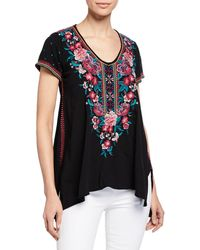 Johnny Was - Analiesse Drape V-neck Short-sleeve Top W/ Side Stitch Detail - Lyst