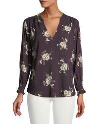 Velvet - Jazzy Floral-print V-neck Top - Lyst