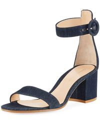 68fe9f1d84b Lyst - Gianvito Rossi Portofino Denim Wedge 85mm Sandal in Blue