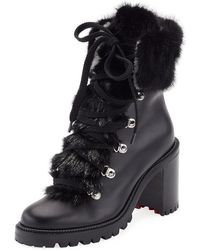 Christian Louboutin   Fanny Leather Fur-trim Red Sole Combat Boot   Lyst