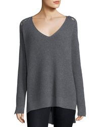 Neiman Marcus - Shaker-stitch Cashmere Pullover W/ Lace-up Shoulders - Lyst
