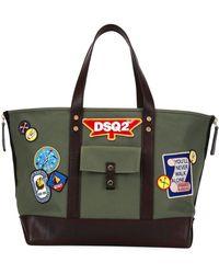 DSquared² - Patches Cotton Canvas Tote Bag - Lyst