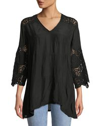Johnny Was - Jay Jay V-neck Top With Crochet Detail - Lyst