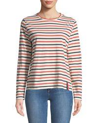 Kule - Crewneck Long-sleeve Striped Cotton Top - Lyst