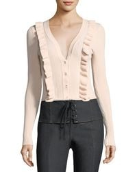 Cinq À Sept - Noya V-neck Button-front Ribbed Cardigan - Lyst