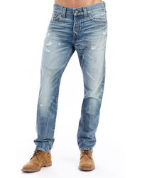 True Religion - Logan Distressed Straight-leg Jeans - Lyst
