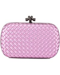 60ac28e1165 Lyst - Bottega Veneta Satin Elongated Knot Clutch Bag in Metallic