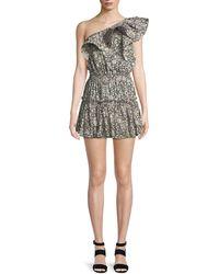 MISA - Josefine Printed One-shoulder Mini Dress - Lyst