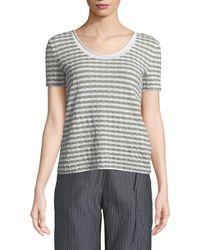 Emporio Armani - Round-neck Short-sleeve Striped Jersey Top - Lyst