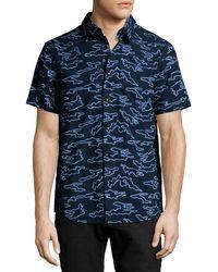 Daniel Won - Camo-embroidered Short-sleeve Cotton Shirt - Lyst