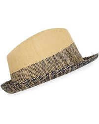 aeed6c528a1 Paul Smith - Men s Two-tone Straw Trilby Hat - Lyst