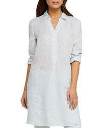 NIC+ZOE - Plus Size Spring Time Long-sleeve Linen Tunic Dress - Lyst