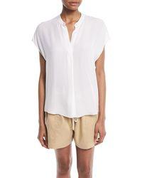 Vince - Silk Split-back Short-sleeve Popover Top - Lyst